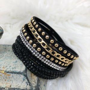Black, Gold, & Rhinestone Wrap Bracelet